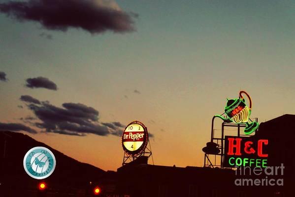 Night Art Print featuring the photograph Neon In Downtown Roanoke by Jannice Walker