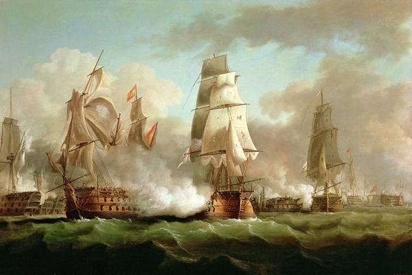 Neptune Art Print featuring the painting Neptune Engaging Trafalgar by J Francis Sartorius