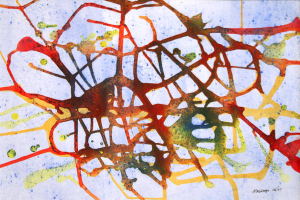 Abstract Art Print featuring the painting Neuron by Mordecai Colodner