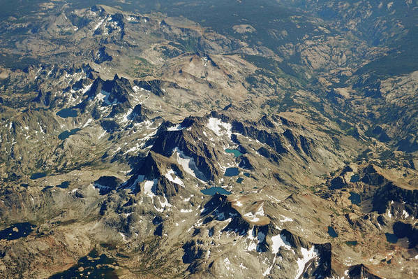 Nevada Art Print featuring the photograph Nevada Mountain Terrain Aerial Lakes by Toby McGuire