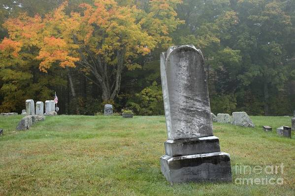 Graveyard Art Print featuring the photograph New England Graveyard During The Autumn by Erin Paul Donovan
