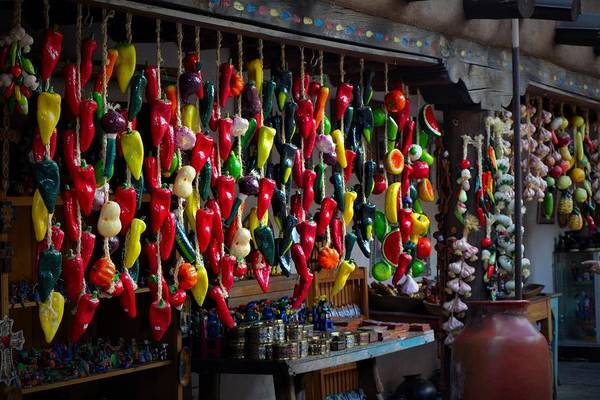 New Mexico Art Print featuring the photograph New Mexico Hanging Peppers by Dwight Eddington
