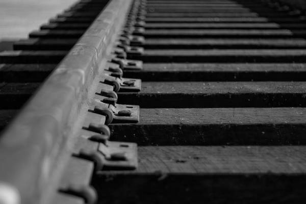 Black And White Photograph Art Print featuring the photograph New Tracks by Mike Oistad
