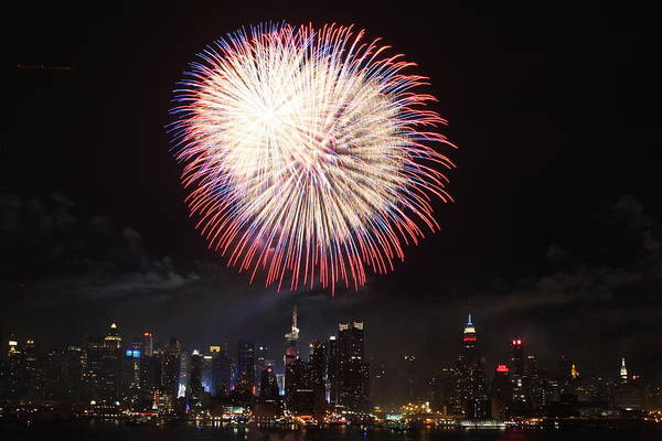 4th Art Print featuring the photograph New York City Fireworks by Elena Ingram
