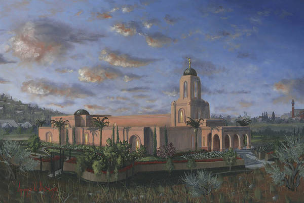 Temple Print featuring the painting Newport Beach Temple by Jeff Brimley