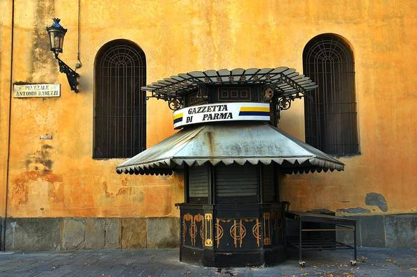 Architecture Art Print featuring the photograph Newsstand - Parma - Italy by Silvia Ganora