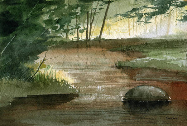 Landscape Print featuring the painting Newton Creek 1 by Sean Seal