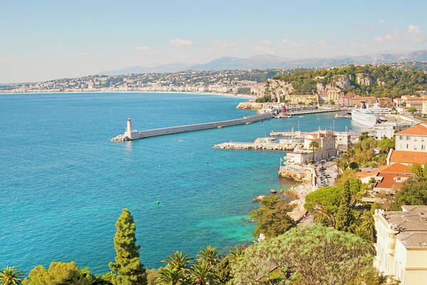 Horizontal Art Print featuring the photograph Nice Coastline And Harbour, France by John Harper