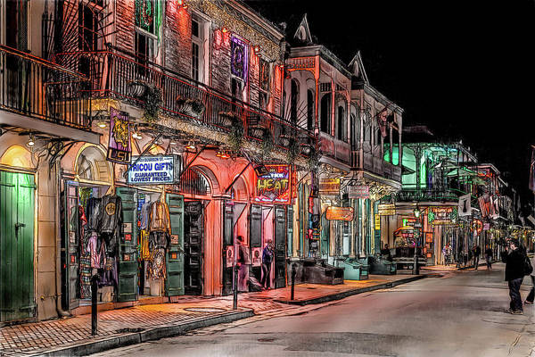 Night Art Print featuring the digital art Nola Night Life by Erwin Spinner