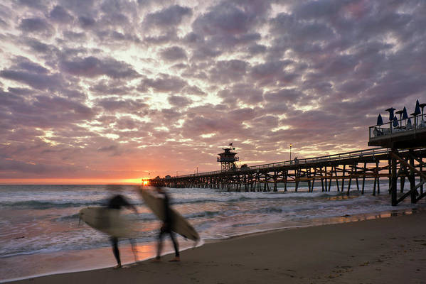San Clemente Print featuring the photograph Night Surfing by Gary Zuercher