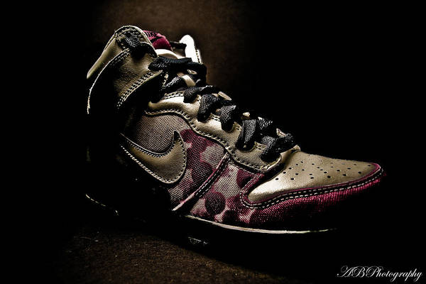 Product Photography Print featuring the photograph Nike Dunks by Allison Badely