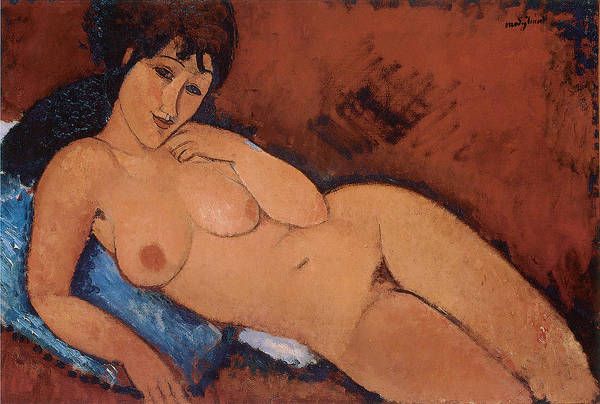 Amedeo Modigliani Art Print featuring the painting Nude On A Blue Cushion by Amedeo Modigliani