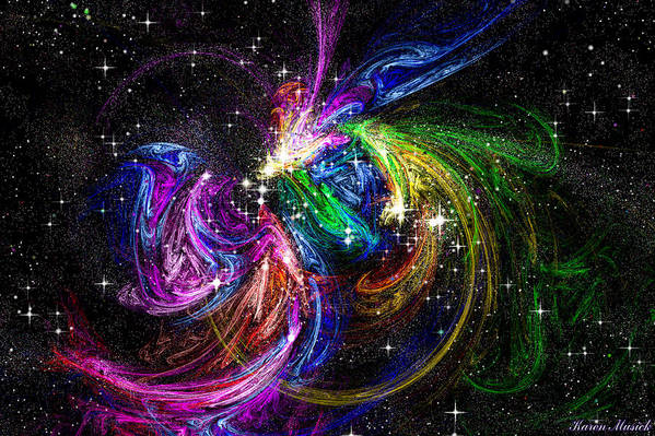 Fractals Art Print featuring the digital art Nursery To The Stars by Karen Musick