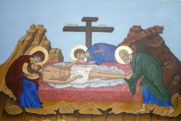 Marinella Owens Art Print featuring the painting O Epitafos Jesus by Marinella Owens