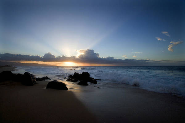 Ocean Art Print featuring the photograph Oahu Sunset by Brad Rickerby