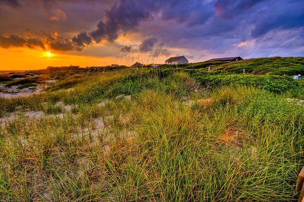 Sun Art Print featuring the photograph Oak Island Sunset by Ches Black