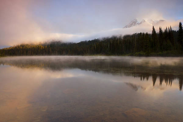 Mt. Rainier Art Print featuring the photograph Obscured Dawn by Mike Dawson