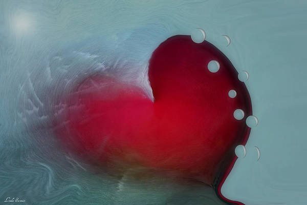 Hearts Art Print featuring the digital art Oceans Heart by Linda Sannuti