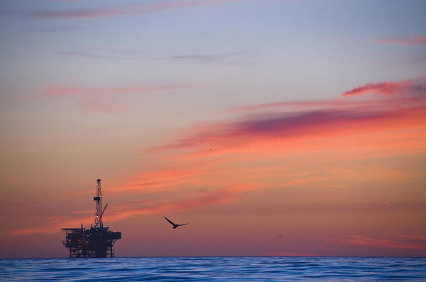 Sunset Print featuring the photograph Offshore Oil And Gas Rig In The Pacific by James Forte