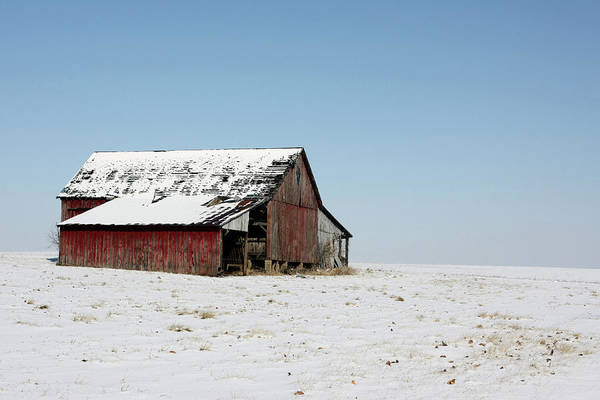 Agriculture Art Print featuring the photograph Old Barn And Snowy Prairie by Alan Look