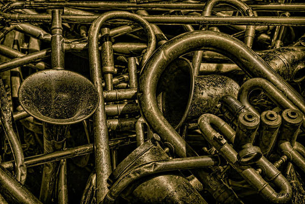 Old Art Print featuring the photograph Old Brass Musical Instruments by Dave Gordon