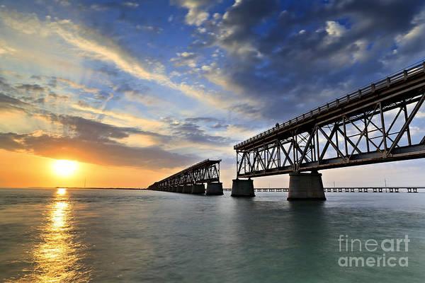 Bahia Honda Print featuring the photograph Old Bridge Sunset by Eyzen M Kim
