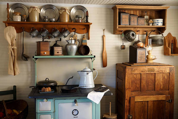 Antiques Art Print featuring the photograph Old Country Kitchen by Carmen Del Valle