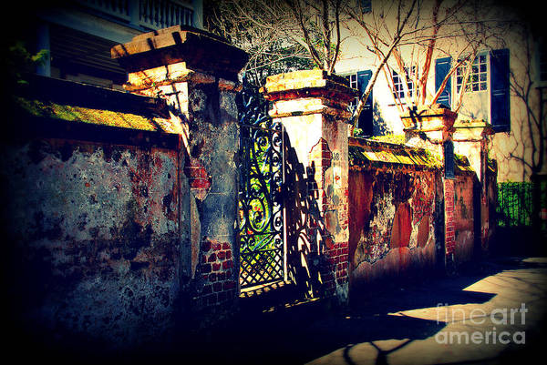 Gate Art Print featuring the photograph Old Iron Gate In Charleston Sc by Susanne Van Hulst
