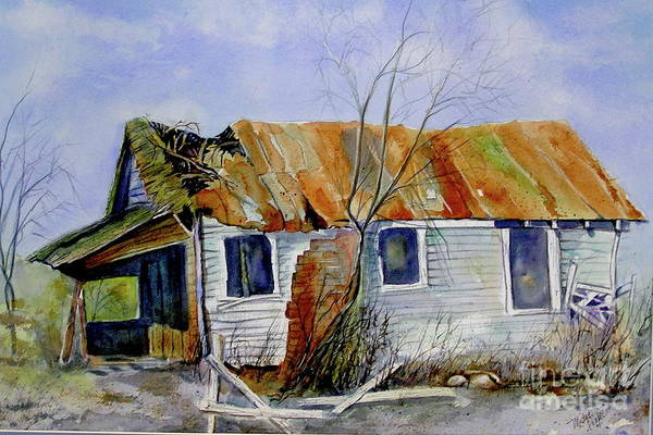 Shack Art Print featuring the painting Old Shack On Manatee by Midge Pippel