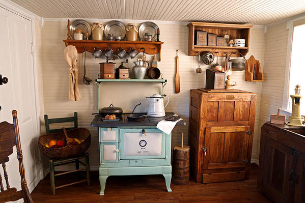 Wooden Ice Box Art Print featuring the photograph Old Time Farmhouse Kitchen by Carmen Del Valle