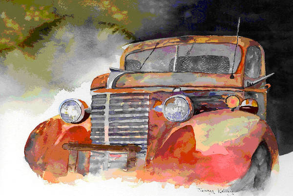 Truck Art Print featuring the painting Old Truck by Jerry Kelley