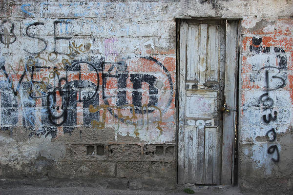 Door Art Print featuring the photograph Old White Door In A Wall by Robert Hamm