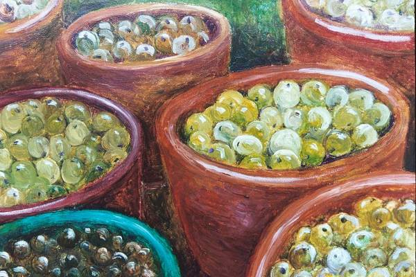 Olives Art Print featuring the painting Olives By The Crock by Jun Jamosmos