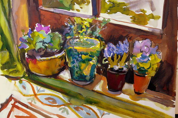 Flowers Art Print featuring the painting On My Courtyard Step by Doranne Alden