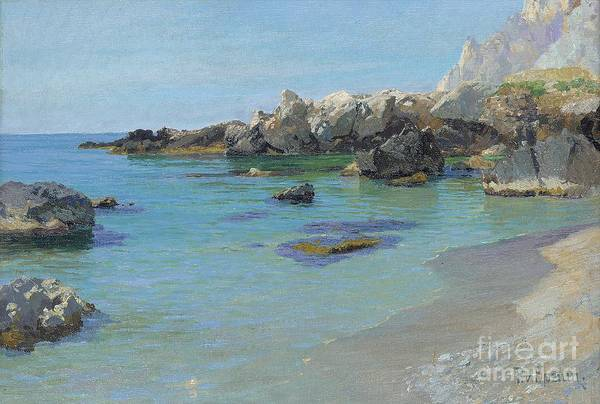 On The Capri Coast (oil On Canvas) By Paul Von Spaun (1876-1932) Art Print featuring the painting On The Capri Coast by Paul von Spaun