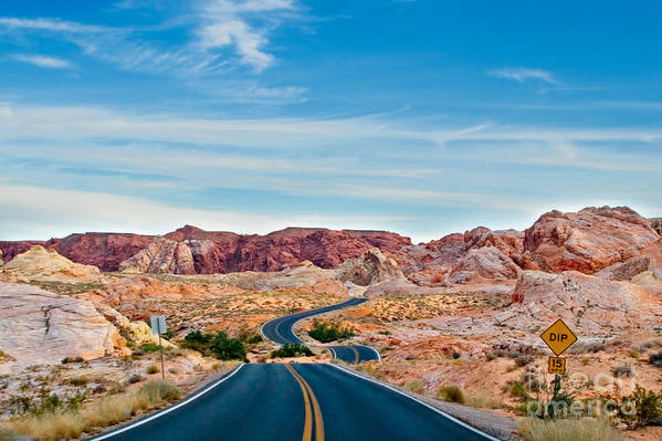 Landscape Art Print featuring the photograph On The Road - Valley Of Fire by Carl Jackson