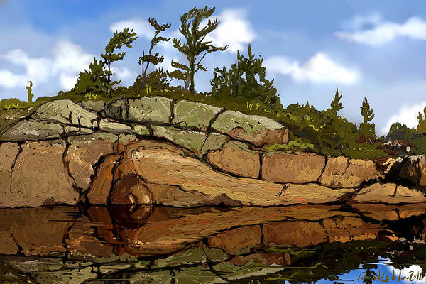 Shoreline Art Print featuring the digital art On The Rocks by David Loblaw