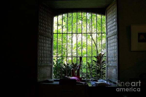 Window Art Print featuring the photograph One Lazy Sunday Afternoon By The Window by Dindin Coscolluela