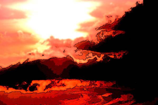 Sunset Art Print featuring the digital art Orange Sunset by Kimberly Camacho