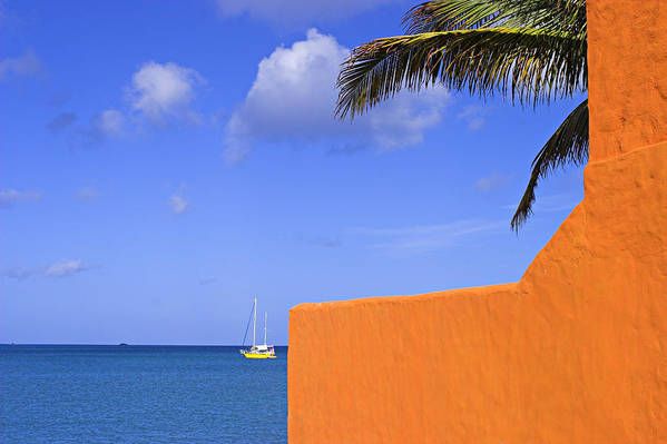 Orange Art Print featuring the photograph Orange Wall-st Lucia by Chester Williams