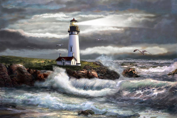 Seascape Art Art Print featuring the painting Oregon Lighthouse Beam Of Hope by Regina Femrite