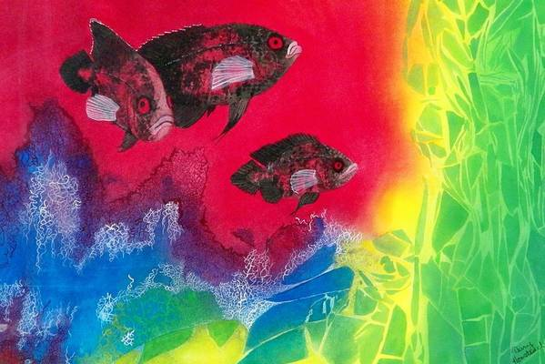 Fish Art Print featuring the painting Oscars In Aquarium by Terry Honstead