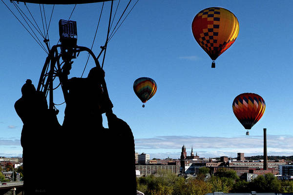 Bates Mill Art Print featuring the photograph Over Auburn And Lewiston Hot Air Balloons by Bob Orsillo