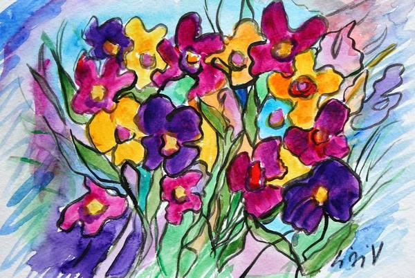 Flowers Art Print featuring the painting Pansies by Luiza Vizoli