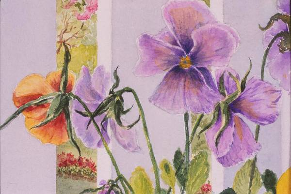 Florals Art Print featuring the painting Pansies On My Porch by Mary Ellen Mueller Legault
