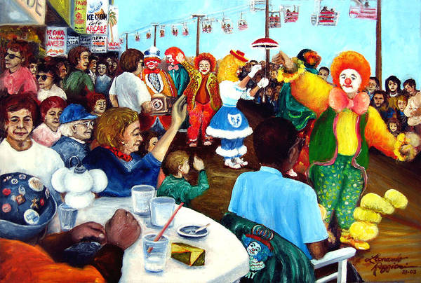 People Art Print featuring the painting Parade Of Clowns In Nj by Leonardo Ruggieri