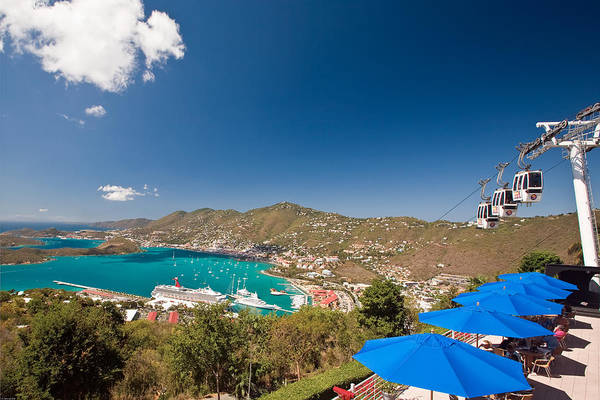 Aerial Tramway Art Print featuring the photograph Paradise Point View Of Charlotte Amalie Saint Thomas Us Virgin Islands by George Oze
