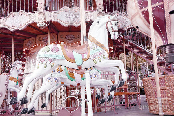 Paris Merry Go Round Carousel Art Print featuring the photograph Paris Carousel Horses - Shabby Chic Paris Carousel Horse Merry Go Round by Kathy Fornal
