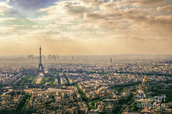 Above Art Print featuring the photograph Paris Eiffel Skyline And Cityscape Aerial View At Sunset From Montparnasse Tower Observation Deck by Mohamed Kazzaz