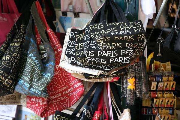 Paris Art Print featuring the photograph Paris Handbags Assorted Colors by Chuck Kuhn